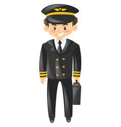 Pilot in uniform with briefcase vector