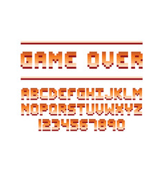 Pixel retro font computer game design vector