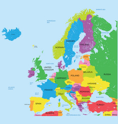 Political map of europe high detail vector