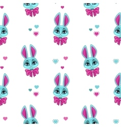 pretty seamless pattern with cute bunny vector image