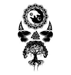 Rawen wolf tree 0004 vector