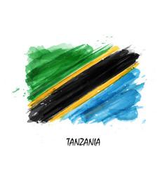 Realistic watercolor painting flag of tanzania vector