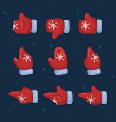 santa mittens cursor set vector image