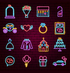 save date neon icons vector image