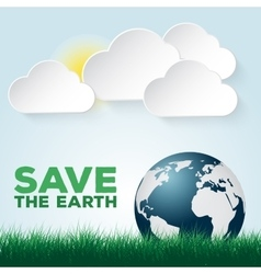 Save our Earth blue and green poster template vector image