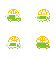 set collection car delivery logo vector image