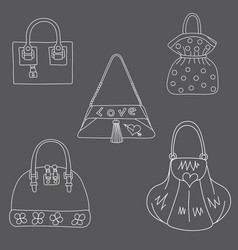 set of bags on white background vector image