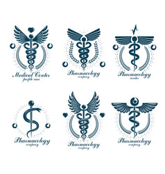 set of caduceus logotypes can be used in vector image
