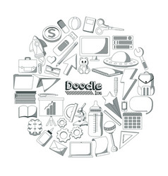 set of doodles elements vector image