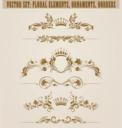 set of filigree damask ornaments floral golden vector image
