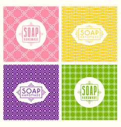Set seamless pattern and labels for soap vector