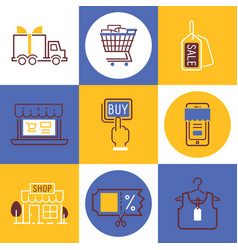 shopping icons delivery vector image