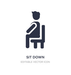 Sit down icon on white background simple element vector