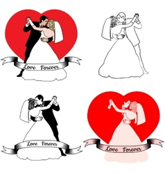 sketches of beautiful young bride and groom in vector image