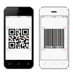 Smartphones with qr and bar code on screen vector