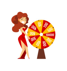 smiling girl spinning roulette wheel with numbers vector image