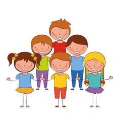 smiling group of kids on white background vector image