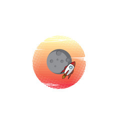 space moon expedition traveller rocket vector image