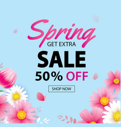spring sale banner with blooming flowers vector image