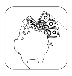 Square shape with silhouette piggy bank with vector
