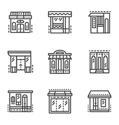 Storefronts line icons vector image