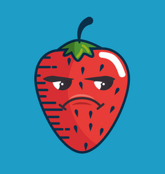 Strawberry fresh fruit character handmade drawn vector