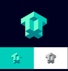 t plus t monogram like isometric projection vector image