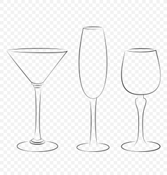 Three isolated outline glass for alcohol drinks vector image vector image