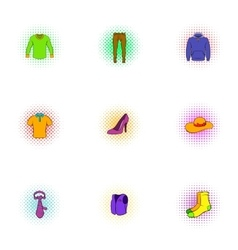 Types of clothes icons set pop-art style vector