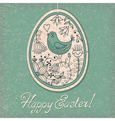Vintage card with easter egg vector