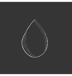 Water drop Drawn in chalk icon vector image
