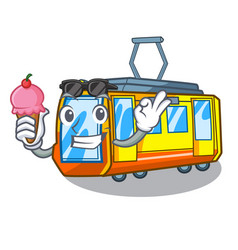 With ice cream electric train isolated with the vector