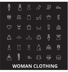 woman clothing editable line icons set on vector image