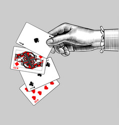 Womans hand with playing cards fan vintage vector