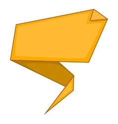 Yellow origami speech bubble icon cartoon style vector image