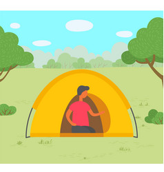 young man in tent camping in forest vector image