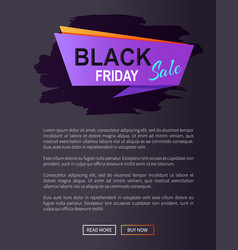 black friday sale promo poster with advert info vector image vector image