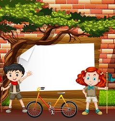 Border design with boy and girl vector image