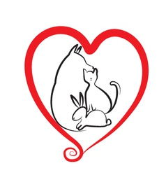 Pets and heart logo vector image vector image