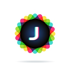 Retro bright colors logotype letter j vector