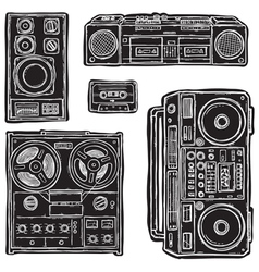 set of tape recorders vector image