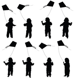 Child set plying with dragon in black vector