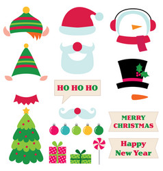 christmas photo booth props vector image vector image