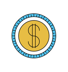 color sectors silhouette of coin icon vector image