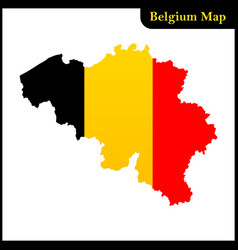 the detailed map of the belgium with national flag vector image vector image