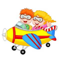 Cute cartoon boy and girl on a plane vector image vector image
