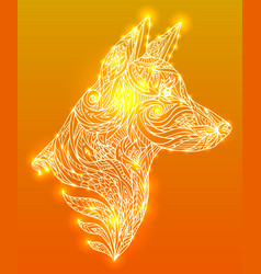 doodle of a dog head with a tribal vector image