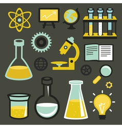 flat icons and sign - science and education vector image vector image