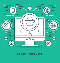 flat line online shopping and e-commerce vector image
