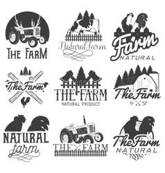 set of farm labels Monochrome logos vector image vector image